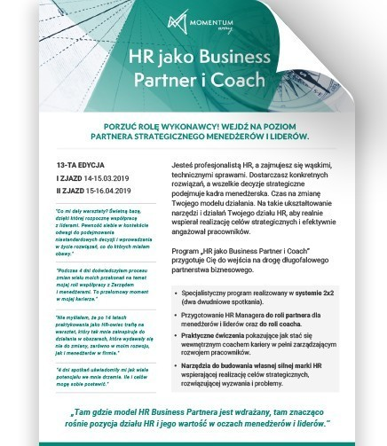 broszura HR jako Busines Partner i Coach, Momenum Way
